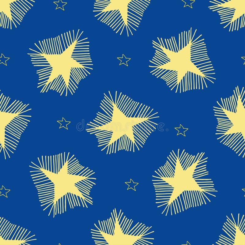 Große Sterne mit Strahlen und kleinen Entwurfssternen vektor abbildung