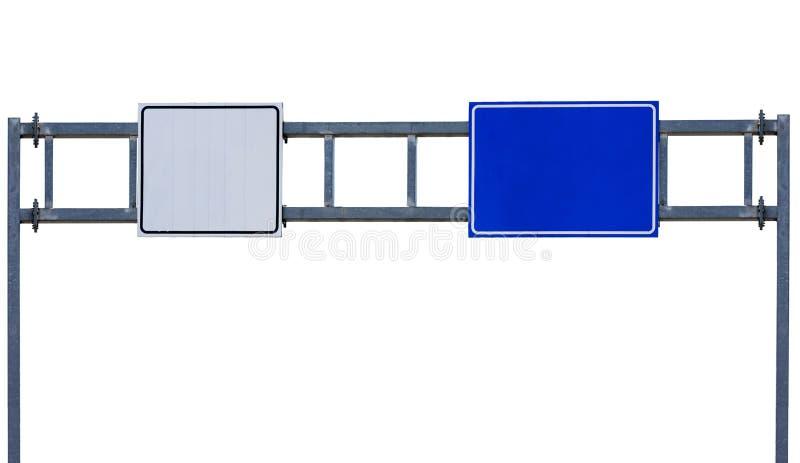 Große Straße der Landstraßenstadt weiß und blaues Zeichen lokalisiert auf Weiß stockbild