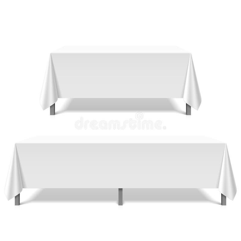 Große Tabellen bedeckt mit weißer Tischdecke lizenzfreie abbildung