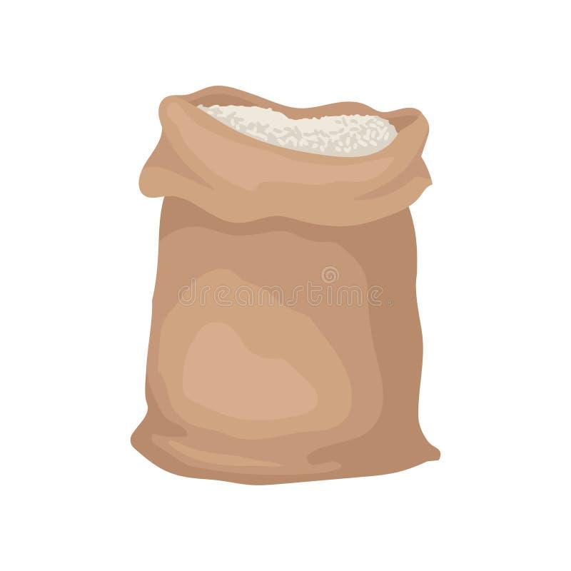 Große Tasche voll des Reises oder des Mehls Großer brauner Sack Landwirtschaft und Thema erntend Flacher Vektor für Promoplakat o stock abbildung