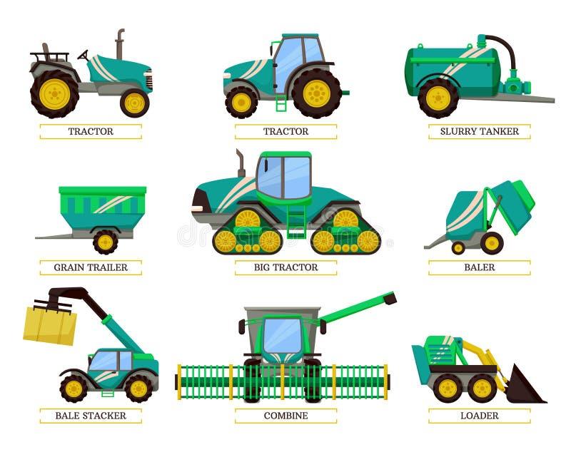 Große Traktor-und Jauchefass-Vektor-Illustration lizenzfreie abbildung