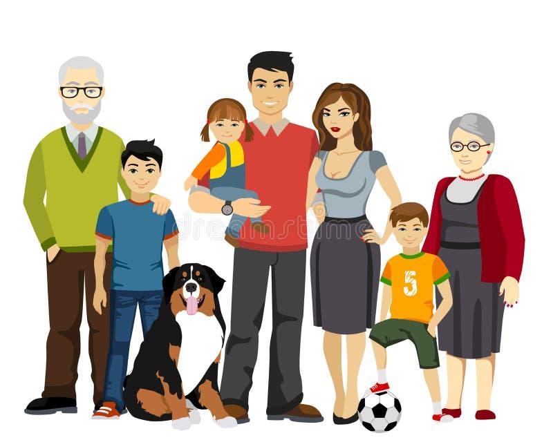 Große und glückliche Familienvektorillustration vektor abbildung