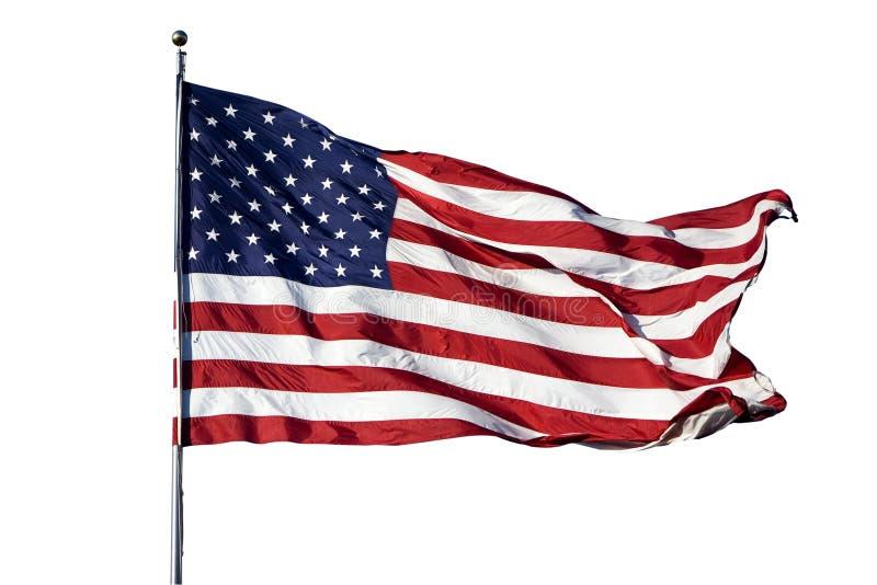 Große US-Markierungsfahne auf weißem Hintergrund lizenzfreies stockbild