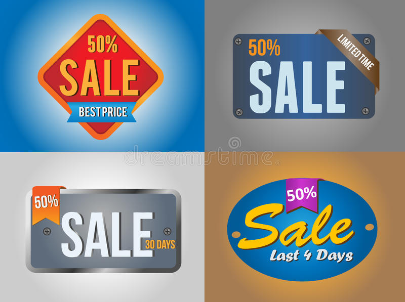 Große Verkaufs-Ausweise stock abbildung