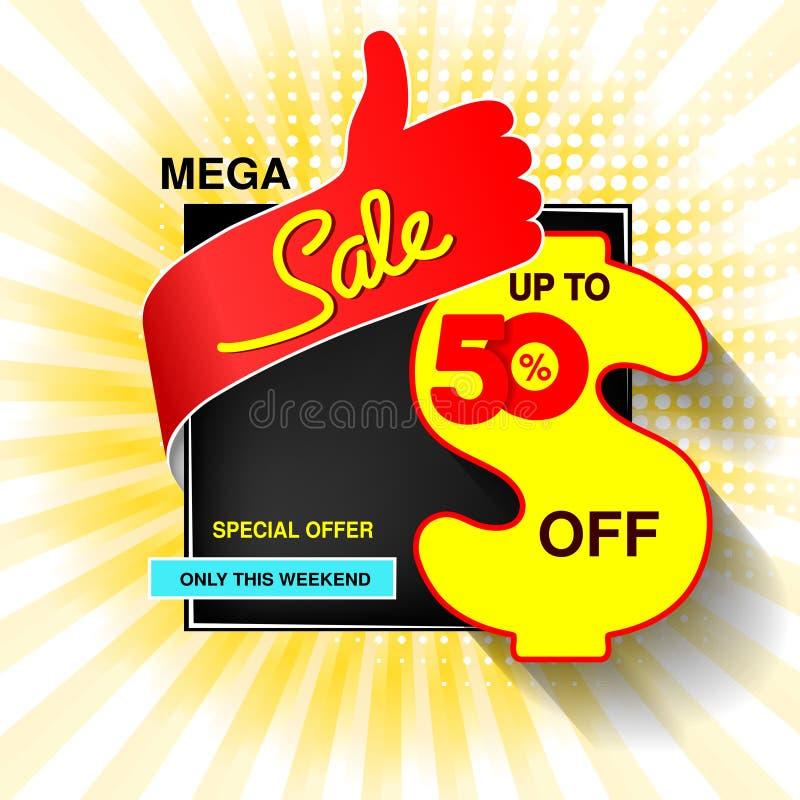 Große Verkaufsfahne des Vektors Mega- Verkauf, bis 50 weg Rotes blaues gelbes Sonderangebot nur dieses Wochenende Schablonenentwu lizenzfreie abbildung