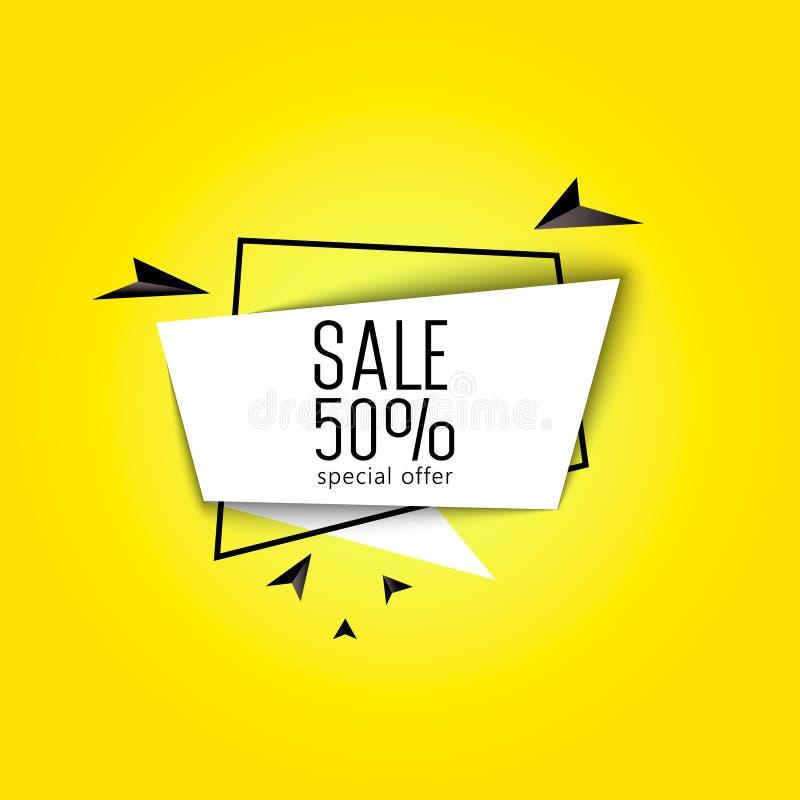 Große Verkaufsfahne 50 Prozent stock abbildung