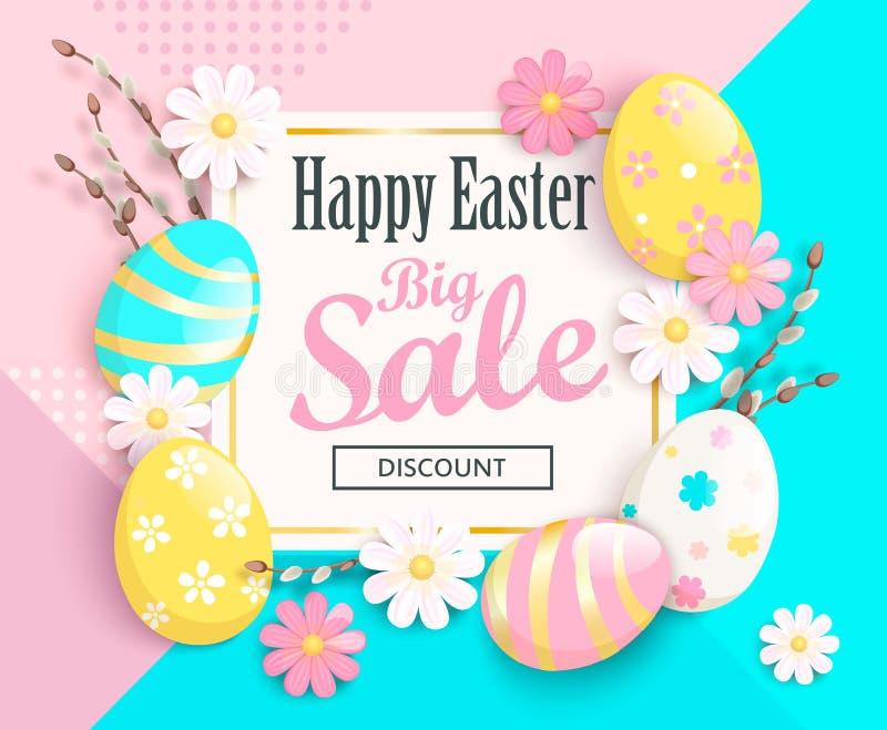 Große Verkaufskarte für fröhliche Ostern Auch im corel abgehobenen Betrag stock abbildung