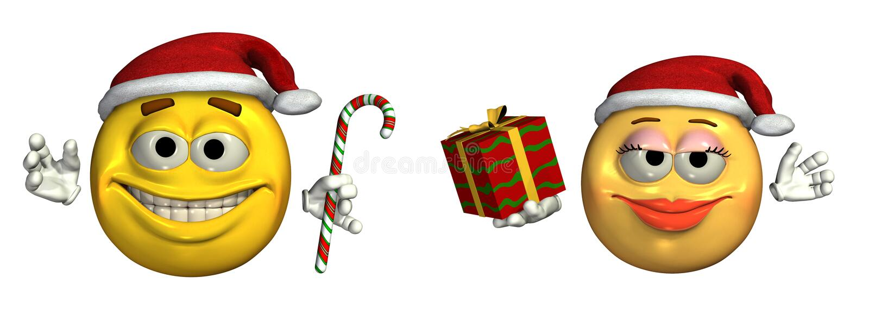 Große WeihnachtsEmoticons - enthält Ausschnittspfad lizenzfreie abbildung