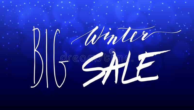 Große Winterschlussverkauf-Handbeschriftungs-Aufschrift stockfoto