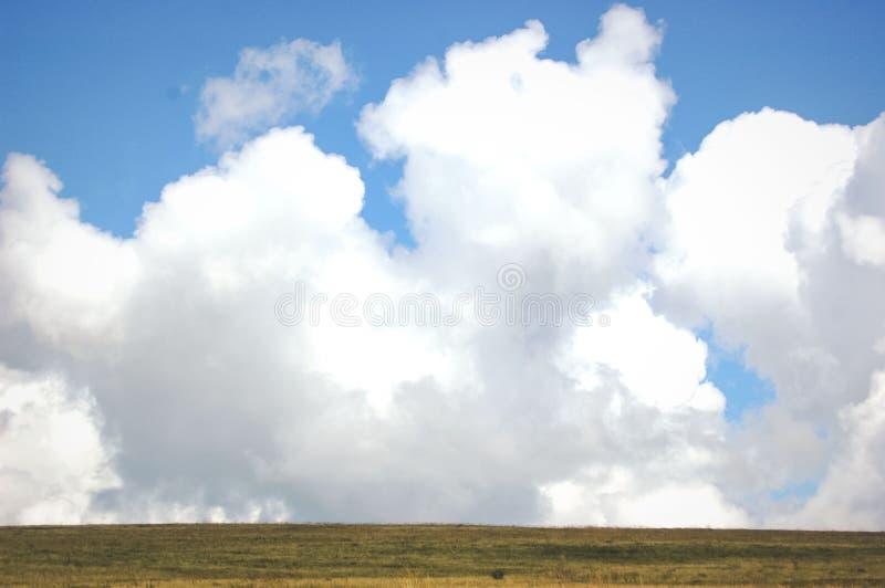Große Wolken und Feld lizenzfreie stockfotos