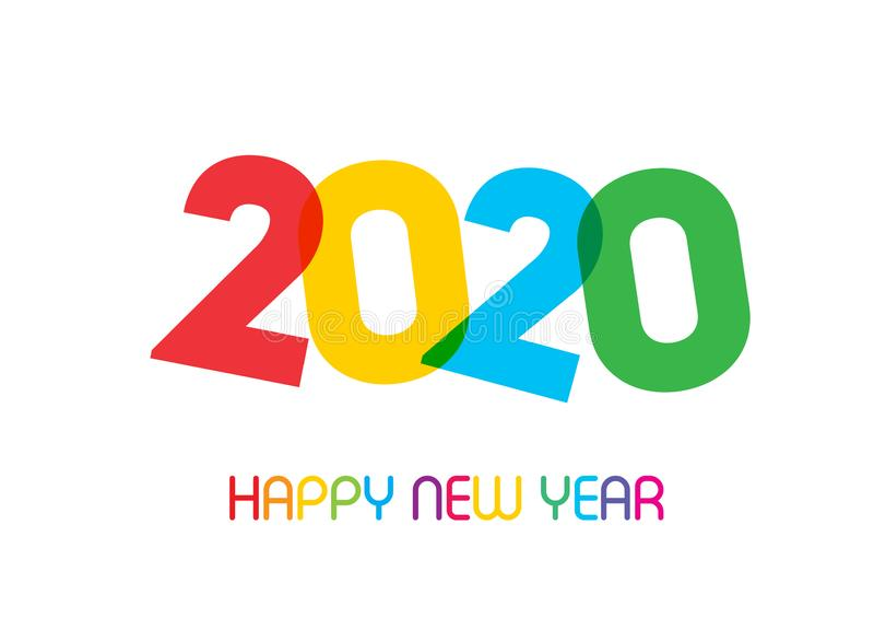 Große Zahlen von 2020 guten Rutsch ins Neue Jahr stockbilder
