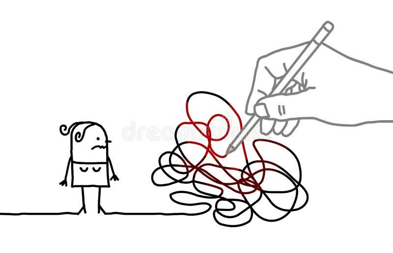 Große Zeichnungs-Hand mit Karikatur-Frau - verwirrter Weg stock abbildung