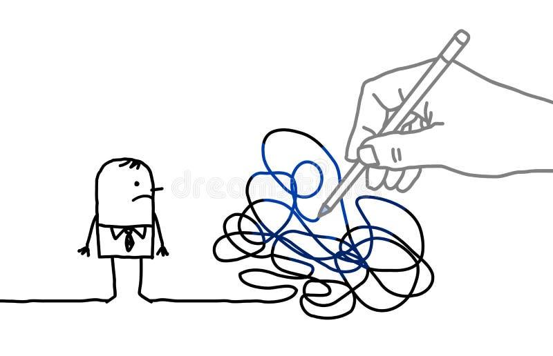 Große Zeichnungs-Hand mit Karikatur-Mann - verwirrter Weg stock abbildung
