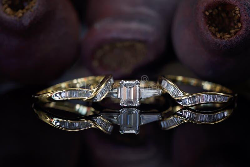 Große zusammenpassende Hochzeits-und Ewigkeits-Bänder Emerald Cut Diamond Ring Withs stockfotografie