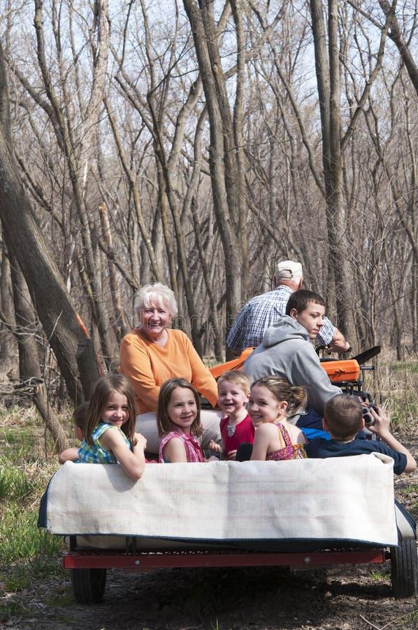 Großeltern auf Fahrt der vierrädrigen Droschke mit Enkelkindern stockbilder