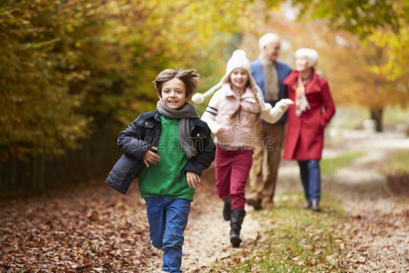 Großeltern mit den Enkelkindern, die entlang Autumn Path laufen stockfoto