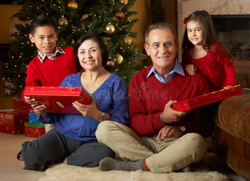 Großeltern mit Enkelkindern durch Weihnachtsbaum stockbilder