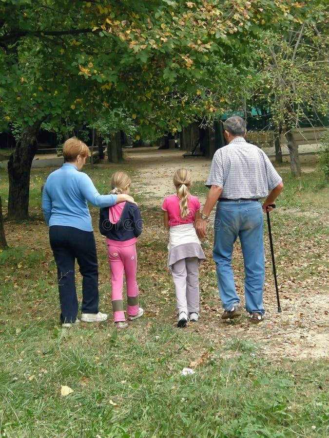 Großeltern mit Enkelkindern im Wald lizenzfreie stockfotos