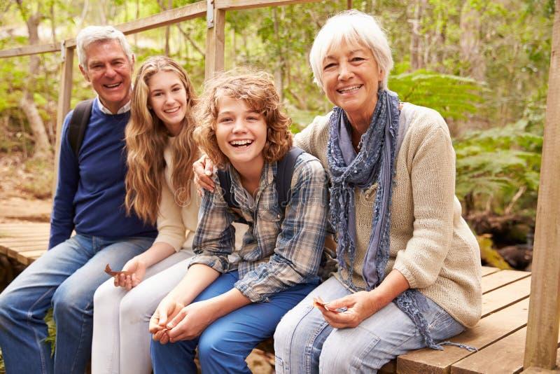 Großeltern und Teenager, die auf einer Brücke in einem Wald sitzen stockfoto