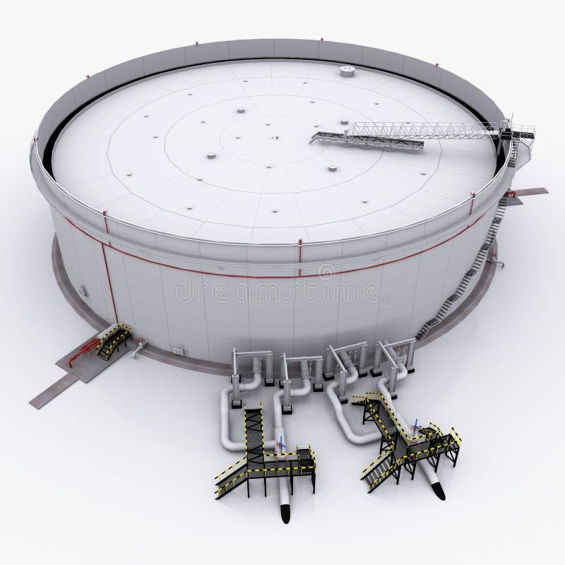 Großer Öltank mit sich hin- und herbewegendem Dach stock abbildung