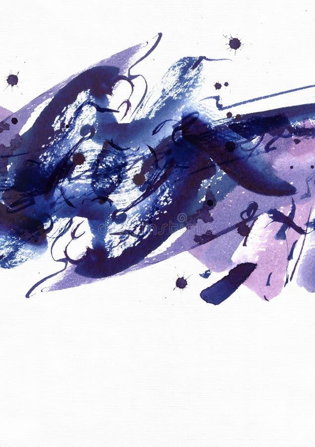 Großer abstrakter Aquarellhintergrund Klare blaue und purpurrote freihändige Bürstenflecke, Punkte und Stellen auf körnigem weiße lizenzfreie abbildung