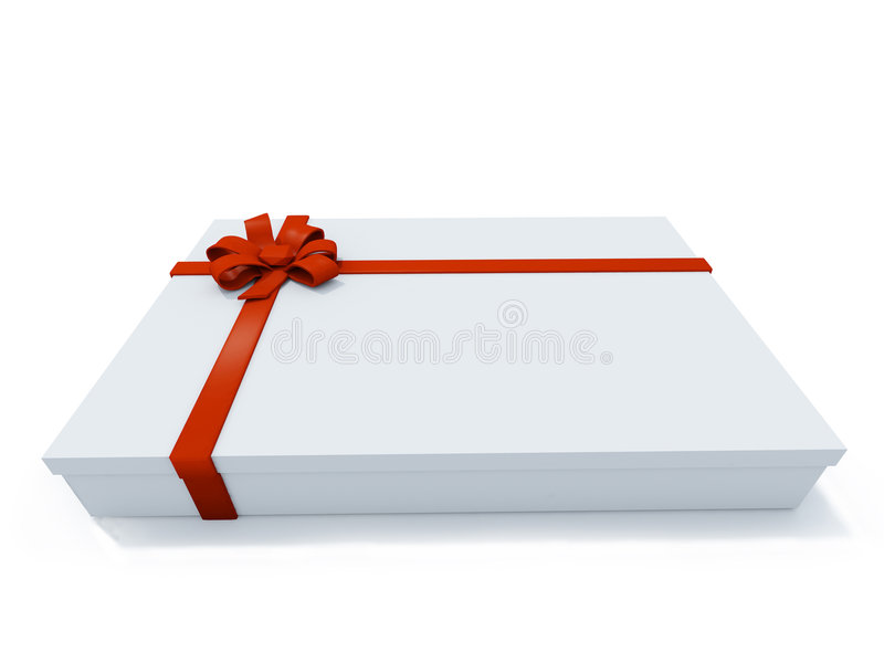 Großer anwesender Kasten auf weißem Hintergrund lizenzfreie abbildung