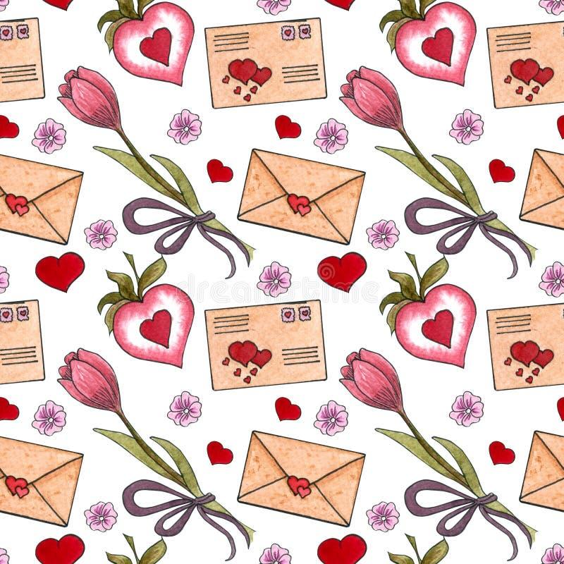 Großer Aquarellsatz Elemente für Valentinstag stock abbildung