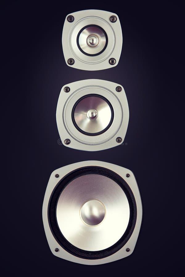 Großer Audiostereodreiwegelautsprecher stockbild