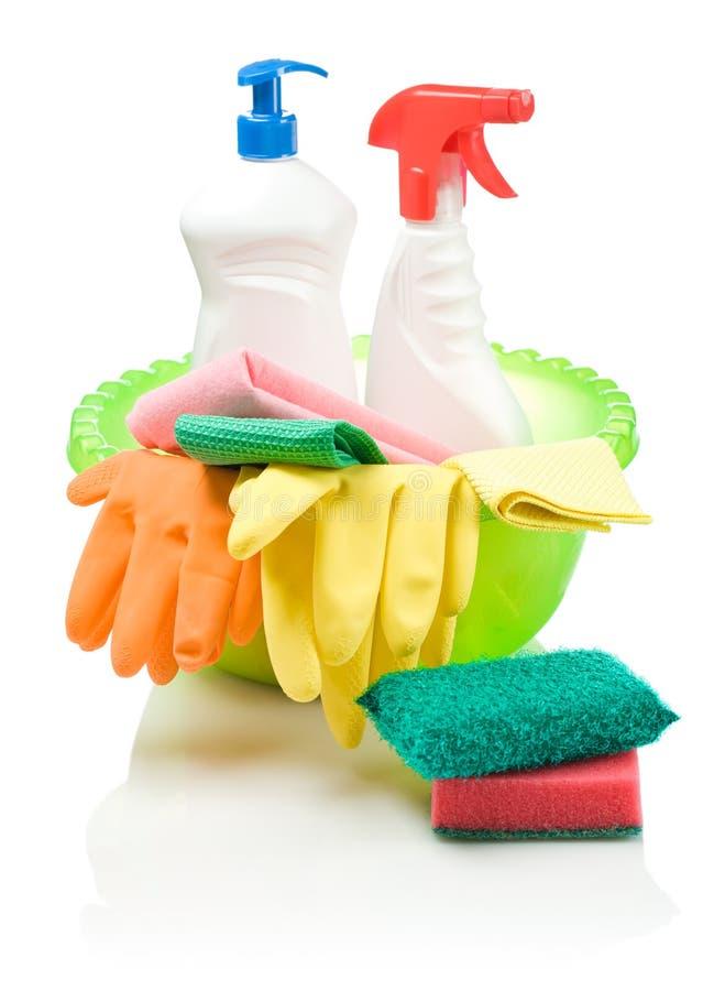 Großer Aufbau für Reinigungsmittel stockfoto