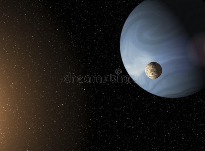 Großer blauer Gasrieseplanet und ein Mond, der nah an einem roten s in Umlauf bringt stock abbildung