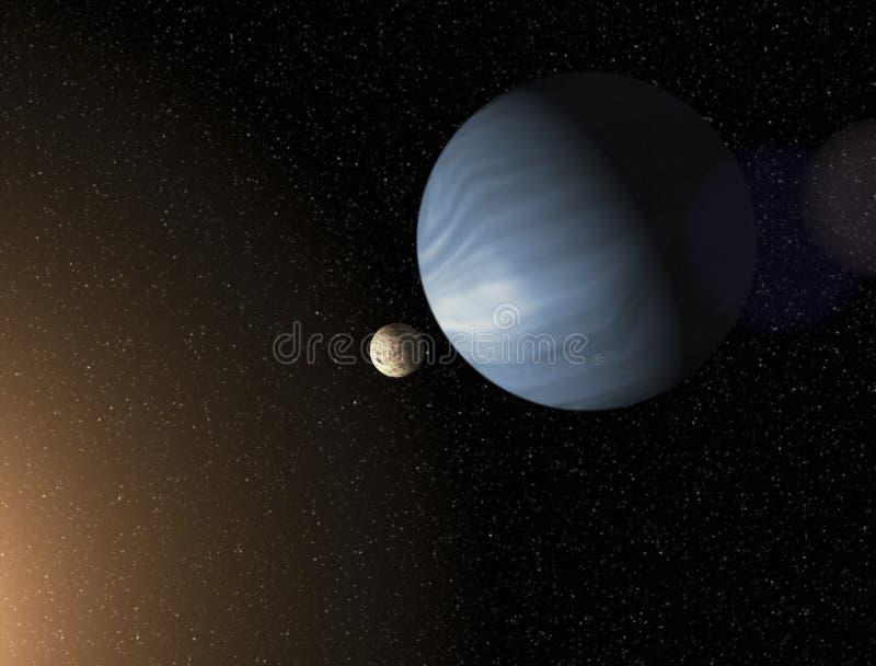 Großer blauer Gasrieseplanet und ein Mond, der nah an einem roten s in Umlauf bringt vektor abbildung