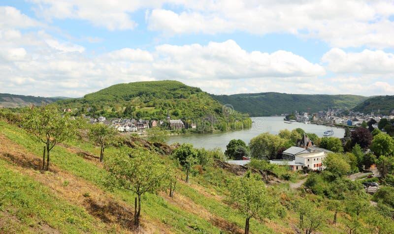 Großer Bogen des Rhein-Tales nahe Boppard, Deutschland. lizenzfreies stockbild
