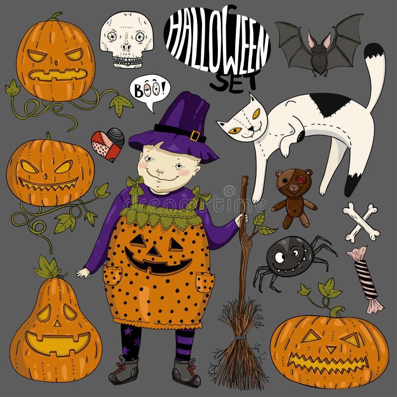 Großer bunter Satz Halloweens mit Hexe des kleinen Mädchens, Katze, furchtsame Gesichtskürbise, Herz, Spinne, Süßigkeit, Knochen, lizenzfreie abbildung