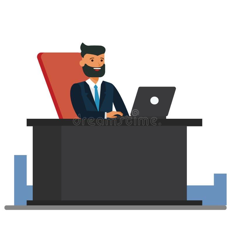 Großer Chef, der Vektor-Illustrationskonzept der Schreibtischkarikatur am flachen auf lokalisiertem weißem Hintergrund sitzt lizenzfreie abbildung