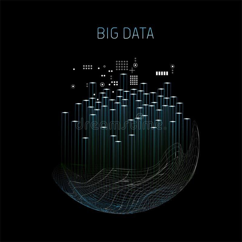 Großer Datentechnologiezusammenfassungs-Vektorhintergrund lizenzfreie abbildung