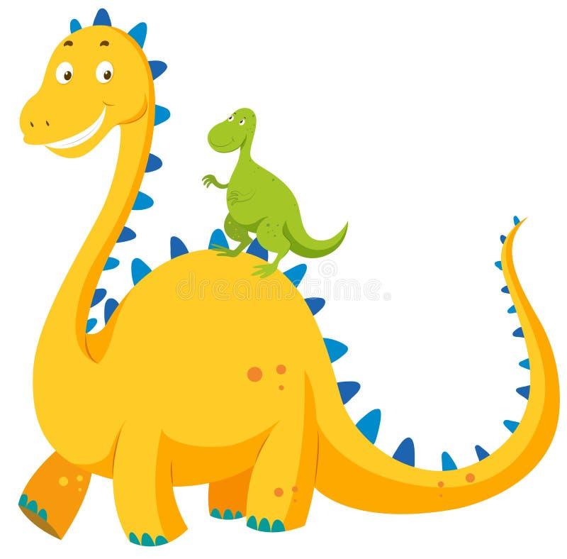 Großer Dinosaurier und kleiner Dinosaurier stock abbildung