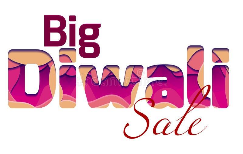 Großer Diwali-Verkauf mit der Aufschrift 3d des Festivals Diwali, gemacht von den Papierschichten lizenzfreie abbildung