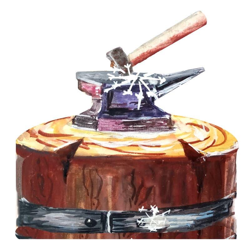 Gro?er Eisenschmiedeambo? und -hammer auf einer Basis eines alten Holzklotzes watercolor Getrennt lizenzfreie abbildung