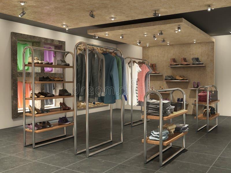 großer Endinnenraum mit Kleidung lizenzfreies stockbild