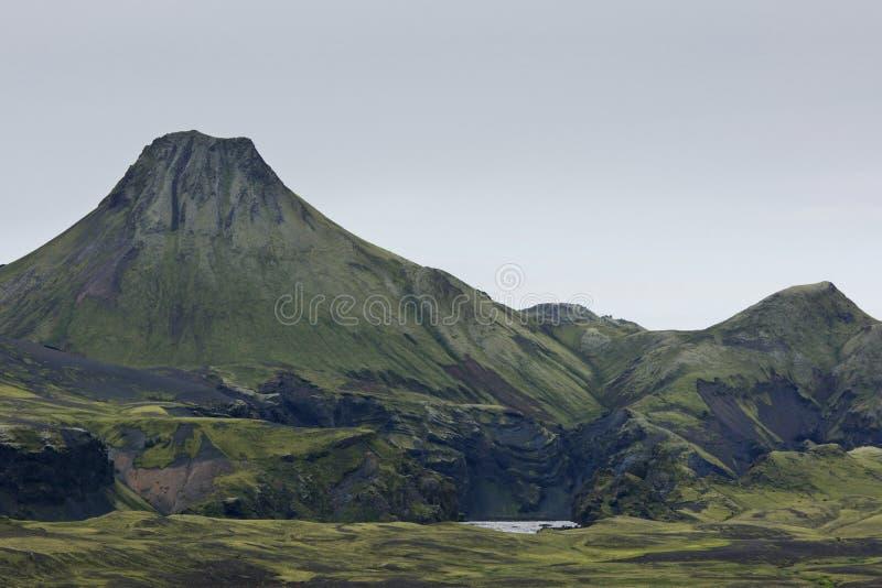 Großer Eruptionskrater bei Lakagigar, Island stockfoto