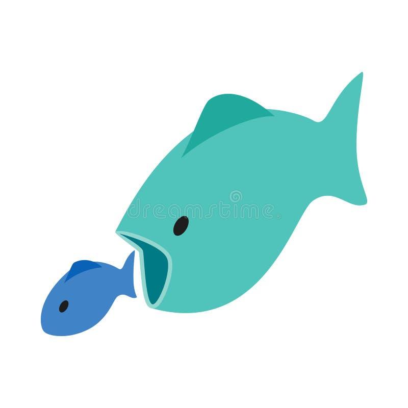 Großer Fisch isst kleine Fischikone, isometrische Art 3d vektor abbildung