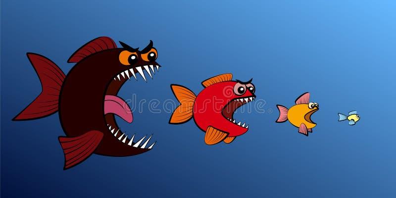 Großer Fisch isst kleinere Fischfutter-Kette vektor abbildung