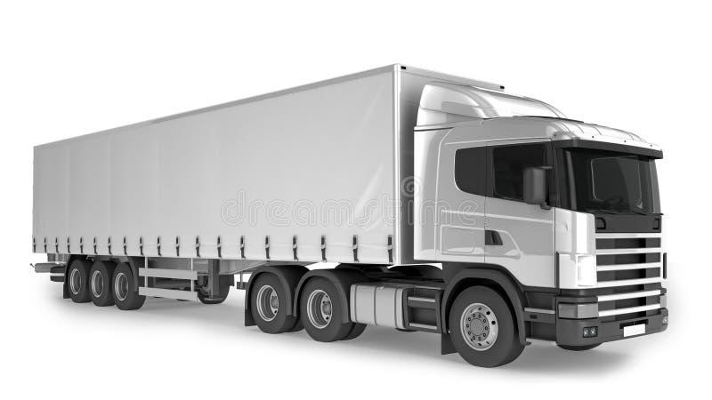 Großer Fracht-LKW auf weißem Hintergrund stock abbildung