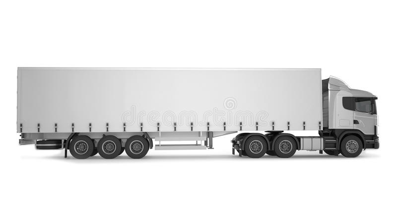 Großer Fracht-LKW auf weißem Hintergrund lizenzfreie abbildung