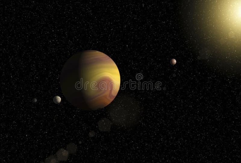 Großer Gasrieseplanet mit zwei Monden und einem umkreisenden nahe gelegenen Stern des kleineren Planeten lizenzfreie abbildung