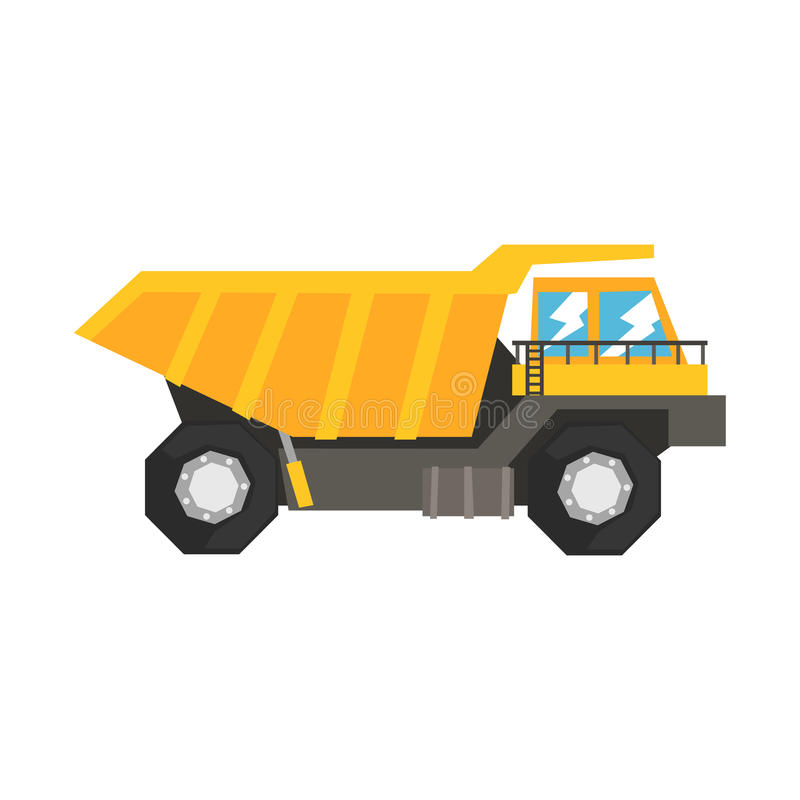 Großer gelber Kipplaster, schwere Industriemaschinenvektor Illustration stock abbildung