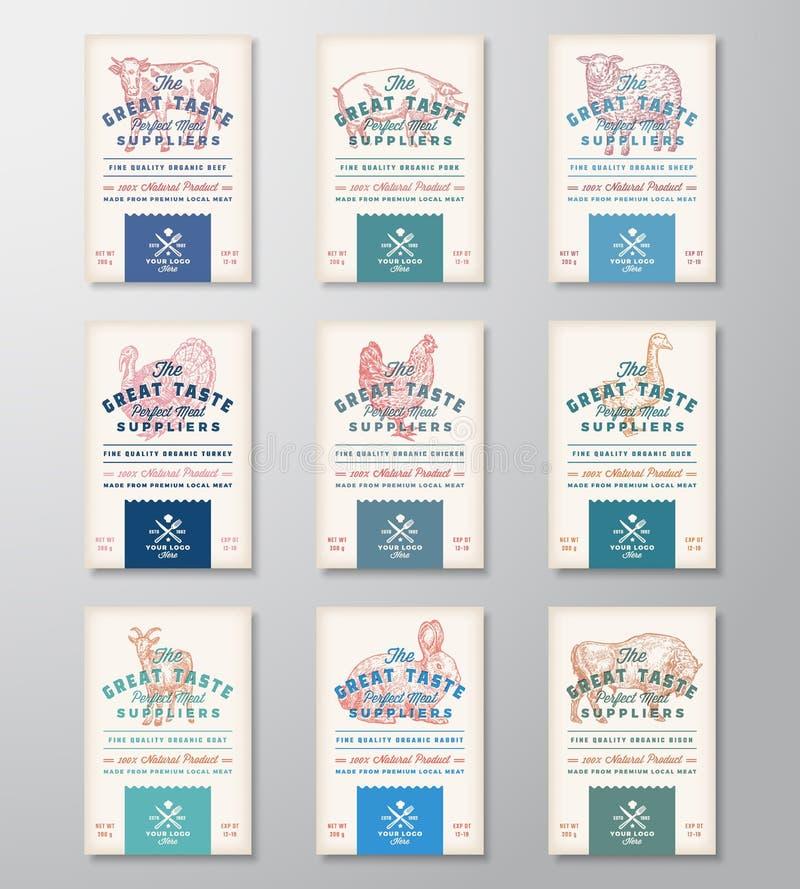 Großer Geschmack-perfektes Fleisch und Geflügel Abstrakte Vektor-Fleischverpackungs-Entwurfs-Fahnen-oder Aufkleber-Sammlung retro stock abbildung