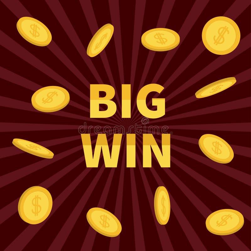 Großer Gewinn Dollarzeichen-Goldmünzeregen des goldenen Textes fliegender On-line-Kasino, Roulette, Poker, Spielautomaten, Karten stock abbildung