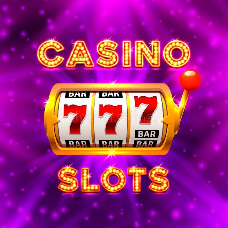 Großer Gewinn kerbt das Kasino mit 777 Fahnen lizenzfreie abbildung