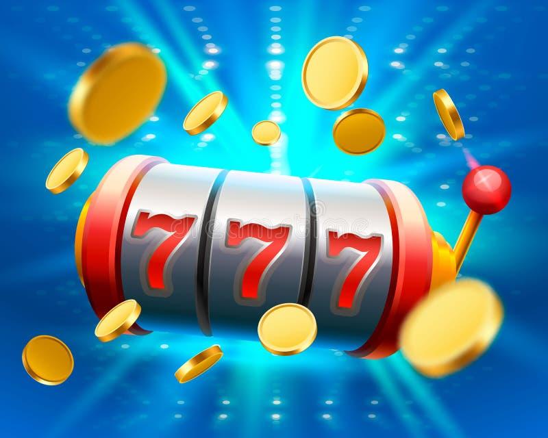 Großer Gewinn kerbt das Kasino mit 777 Fahnen stock abbildung